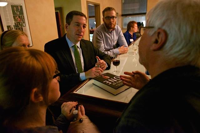 Claire, Glenn Greenwald and Michael Harris